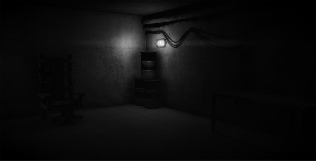 Dark corner of room with a black filing cabinet in the corner.