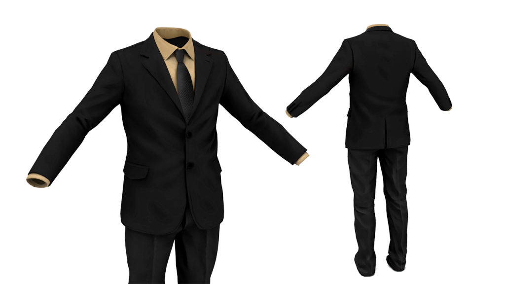 Black Business Suite with light brown shirt and black tie Front and Back.
