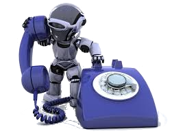 Small Gray Robot Answering Old Blue Rotary Phone.