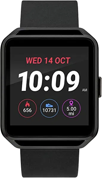Black SmartWatch displaying the time, date, calories burned, steps taken, and miles walked.